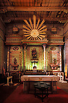 Main altar, interior of Mission San Miguel Arcangel, April 2003 just months before the San Simeon Earthquate of December 2003.<br /> <br /> This photo is a rare and historic image taken just a few months before the deviating earthquake which substantially damaged the chapel, closing it for more than seven years.