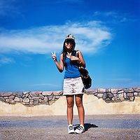 A female tourist. The majority of Macau's tourists come from mainland China.