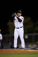 Connecticut Tigers relief pitcher Arvicent Perez (18) gets ready to deliver a pitch during a game against the Hudson Valley Renegades on August 20, 2018 at Dodd Stadium in Norwich, Connecticut.  Hudson Valley defeated Connecticut 3-1.  (Mike Janes/Four Seam Images)