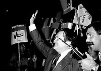 """Jean Garon<br /> take part in a debate between all candidates in the Parti Quebecois leadership race which was eventually won by Pierre-Marc Johnson on September 11,1985"""" he just Jean Garon died at 76 on July 2nd 2014.<br /> <br />  File Photo  : Agence Quebec Presse  - Pierre Roussel"""
