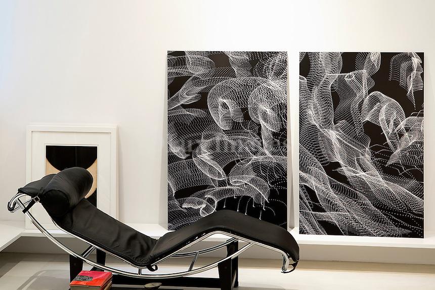 modern black chaise lounge