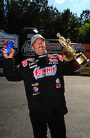 May 6, 2012; Commerce, GA, USA: NHRA pro stock driver Greg Anderson celebrates after winning the Southern Nationals at Atlanta Dragway. Mandatory Credit: Mark J. Rebilas-