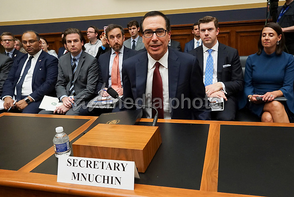 United States Secretary of the Treasury Steven T. Mnuchin arrives to testify before the US House Financial Services Committee on Capitol Hill in Washington, DC regarding House Democrats' request to release President Trump's tax returns on April 9, 2019.<br /> Credit: Stefani Reynolds / CNP/AdMedia