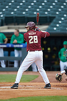 Dylan Busby (28) of the Florida State Seminoles at bat against the Notre Dame Fighting Irish in Game Four of the 2017 ACC Baseball Championship at Louisville Slugger Field on May 24, 2017 in Louisville, Kentucky. The Seminoles walked-off the Fighting Irish 5-3 in 12 innings. (Brian Westerholt/Four Seam Images)