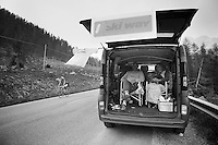 fans await the riders up the  Passo San Pellegrino (1918m) <br /> <br /> 2014 Giro d'Italia<br /> stage 18: Belluno - Rifugio Panarotta (Valsugana), 171km