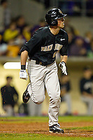 Charlie Morgan #26 of the Wake Forest Demon Deacons hustles down the first base line against the LSU Tigers at Alex Box Stadium on February 18, 2011 in Baton Rouge, Louisiana.  The Tigers defeated the Demon Deacons 15-4.  Photo by Brian Westerholt / Four Seam Images
