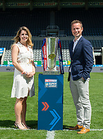 Picture by Allan McKenzie/SWpix.com - 14/05/2018 - Rugby League - Dacia Magic Weekend 2018 Preview - St James Park, Newcastle, England - Cllr Kim McGuinness with Stephen Patterson of NE1.