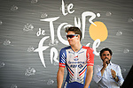 Arnaud Demare (FRA) Groupama-FDJ on the podium at sign on before the start of Stage 16 of the 2018 Tour de France running 218km from Carcassonne to Bagneres-de-Luchon, France. 24th July 2018. <br /> Picture: ASO/Pauline Ballet | Cyclefile<br /> All photos usage must carry mandatory copyright credit (© Cyclefile | ASO/Pauline Ballet)
