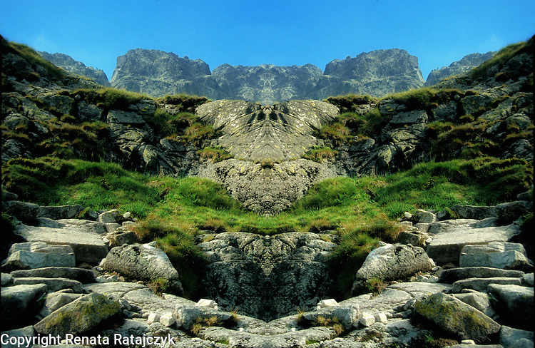 Digitally enhanced photography, surreal landscape with mountains