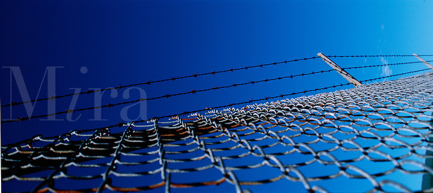 Abstract graphic of a chain link fence with barbed wire on top.