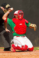 North Carolina State Wolfpack catcher Danny Canela #23 on defense against the Wake Forest Demon Deacons at Doak Field at Dail Park on March 17, 2012 in Raleigh, North Carolina.  The Wolfpack defeated the Demon Deacons 6-2.  (Brian Westerholt/Four Seam Images)