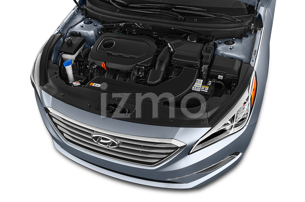Car stock 2015 Hyundai Sonata 2.4 Auto Limited 4 Door Sedan engine high angle detail view