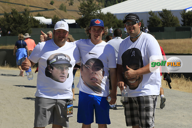 Canadian fans enjoying the action during Friday's Round 2 of the 2015 U.S. Open 115th National Championship held at Chambers Bay, Seattle, Washington, USA. 6/19/2015.<br /> Picture: Golffile   Eoin Clarke<br /> <br /> <br /> <br /> <br /> All photo usage must carry mandatory copyright credit (&copy; Golffile   Eoin Clarke)
