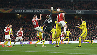 Arsenal's Sokratis Papastathopoulos scores his side's third goal <br /> <br /> Photographer Rob Newell/CameraSport<br /> <br /> UEFA Europa League Round of 32 Second Leg - Arsenal v BATE Borisov - Thursday 21st February 2019 - The Emirates - London<br />  <br /> World Copyright © 2018 CameraSport. All rights reserved. 43 Linden Ave. Countesthorpe. Leicester. England. LE8 5PG - Tel: +44 (0) 116 277 4147 - admin@camerasport.com - www.camerasport.com