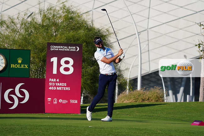 Scott Jamieson (SCO) on the 18th during Round 1 of the Commercial Bank Qatar Masters 2020 at the Education City Golf Club, Doha, Qatar . 05/03/2020<br /> Picture: Golffile | Thos Caffrey<br /> <br /> <br /> All photo usage must carry mandatory copyright credit (© Golffile | Thos Caffrey)