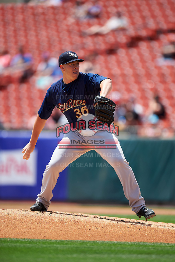 Scranton/Wilkes-Barre RailRiders starting pitcher Johnny Barbato (36) delivers a pitch during a game against the Buffalo Bisons on July 2, 2016 at Coca-Cola Field in Buffalo, New York.  Scranton defeated Buffalo 5-1.  (Mike Janes/Four Seam Images)