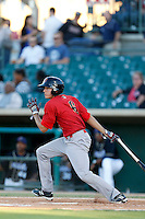 Tom Belza #6 of the Visalia Rawhide bats against the Lancaster JetHawks at The Hanger on May 30, 2013 in Lancaster, California. Lancaster defeated Visalia, 15-2. (Larry Goren/Four Seam Images)