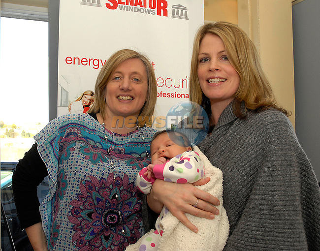 Breda Kirwan (left) and Melissa Higgison of Grangerath with her 5 week old daughter Lucia at the opening of Senator Windows on Saturday. Photo:www.newsfile.ie