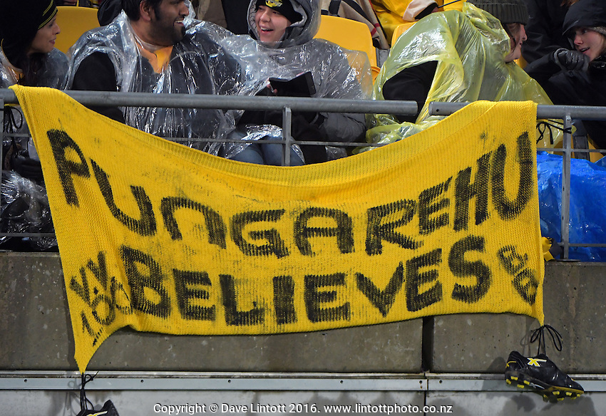 A banner hangs from the grandstand during the Super Rugby final match between the Hurricanes and Lions at Westpac Stadium, Wellington, New Zealand on Saturday, 6 August 2016. Photo: Dave Lintott / lintottphoto.co.nz