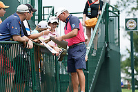 Graeme McDowell (NIR) with fans at the 11th green during Wednesday's Practice Day of the 2017 PGA Championship held at Quail Hollow Golf Club, Charlotte, North Carolina, USA. 9th August 2017.<br /> Picture: Eoin Clarke | Golffile<br /> <br /> <br /> All photos usage must carry mandatory copyright credit (&copy; Golffile | Eoin Clarke)