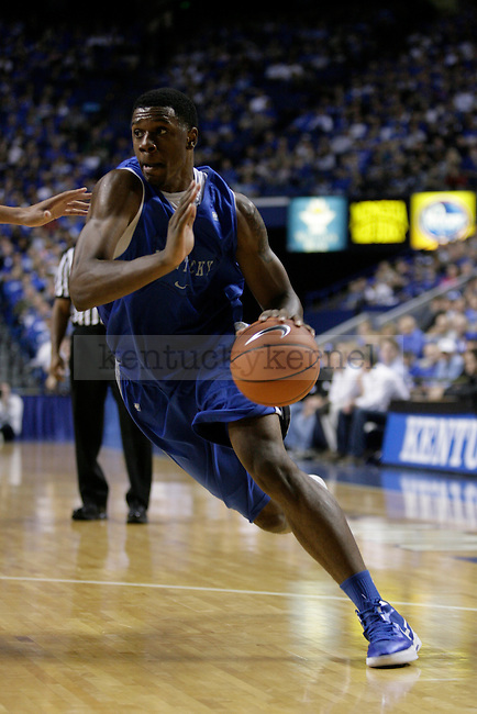 Terrence Jones drives to the basket in the Blue-White Scrimmage at Rupp Arena Wednesday night, October 26, 2011.  Photo by Scott Hannigan