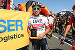 Sergio Luis Henao Montoya (COL) UAE Team Emirates at sign on before Stage 8 of La Vuelta 2019 running 166.9km from Valls to Igualada, Spain. 31st August 2019.<br /> Picture: Luis Angel Gomez/Photogomezsport | Cyclefile<br /> <br /> All photos usage must carry mandatory copyright credit (© Cyclefile | Luis Angel Gomez/Photogomezsport)