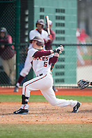 Erik Payne (5) of the Virginia Tech Hokies follows through on his swing against the Toledo Rockets at The Ripken Experience on February 28, 2015 in Myrtle Beach, South Carolina.  The Hokies defeated the Rockets 1-0 in 10 innings.  (Brian Westerholt/Four Seam Images)
