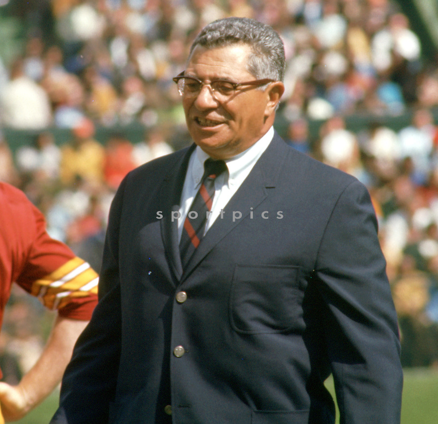 Washington Redskins head coach Vince Lombardi during a game from his 1969 season with the Washington Redskins. Vince Lombard head coached for 10 years with 2 different teams and won 2 Super Bowls with the Green Bay Packers and was inducted into the Pro Football Hall of Fame in 1971.(SportPics)