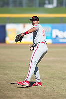 Scottsdale Scorpions first baseman Darick Hall (30), of the Philadelphia Phillies organization, warms up before an Arizona Fall League game against the Peoria Javelinas at Peoria Sports Complex on November 15, 2018 in Mesa, Arizona. Peoria defeated Scottsdale 2-1. (Zachary Lucy/Four Seam Images)