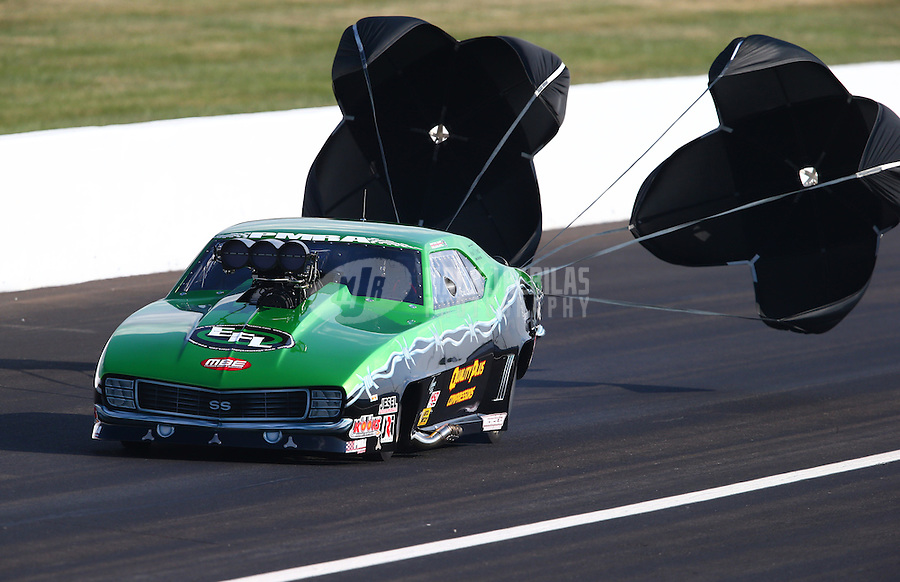 Aug. 30, 2013; Clermont, IN, USA: NHRA pro mod driver Eric Latino during qualifying for the US Nationals at Lucas Oil Raceway. Mandatory Credit: Mark J. Rebilas-