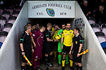 Arbroath 0 Edinburgh City 1, 15/03/2017. Gayfield Park, SPFL League 2. The two teams line up in the tunnel at Gayfield Park before Arbroath hosted Edinburgh City (in yellow) in an SPFL League 2 fixture. The newly-promoted side from the Capital were looking to secure their place in SPFL League 2 after promotion from the Lowland League the previous season. They won the match 1-0 with an injury time goal watched by 775 spectators to keep them 4 points clear of bottom spot with three further games to play. Photo by Colin McPherson.