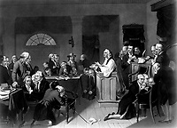 First Prayer in Congress, September 1774, in Carpenters Hall, Philadelphia, Pa.  copy of print by H. B. Hall after T. H. Matteson. (George Washington Bicentennial Commission)<br />