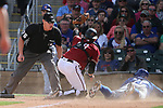 Diamondbacks' Matt Jones tags Chicago Cubs John Andreoli out in a spring training game in Phoenix, AZ, on Thursday, March 23, 2017.<br /> Photo by Cathleen Allison/Nevada Photo Source