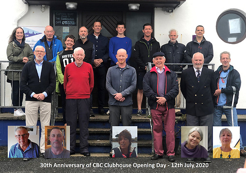 Clifden Boat Club members gather in July 2020 to celebrate thirty years of their successful clubhouse: Back row (left to right) Catriona Vine, Peter Vine, Susie Ward, John Stanley, P J McDonagh, Conor McDonagh, Morvan LeDorvan, Liam Clarke and Barry Ward, Front row: Donal O'Scannaill, Padraic McCormack, Sean O'Farrell, Jackie Ward, Adrian O'Connell and Damian Ward. Insets: Francie Mannion, Saul Joyce, Emer Joyce, Doris Lindemann and Julia Awcock