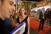 US actress Jessica Chastain attends the premiere of her film ' The Disapearence' during the 62st San Sebastian Film Festival in San Sebastian, Spain. September 22, 2014. (ALTERPHOTOS/Caro Marin)