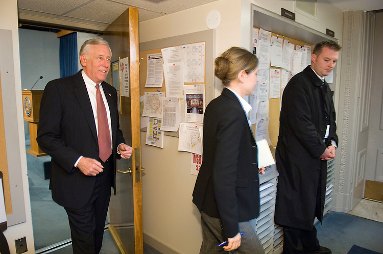 11/13/06--House Minority Whip Steny Hoyer, D-Md., exits the House Radio/TV studio after an on-air interview. With stakes high and accurate counts hard to come by, rivals for the job of House majority leader spent Monday whipping for votes and trying to determine what impact the preference of Nancy Pelosi would have on the outcome. Pelosi, D-Calif., who is unchallenged for the position of Speaker of the House, officially threw her support to ally John P. Murtha of Pennsylvania, the only challenger to majority leader candidate Steny H. Hoyer of Maryland. Hoyer supporters claimed to have commitments from as many as 30 of the partyÕs 41 incoming freshmen, but held back on issuing a full list of those commitments Ñ making it difficult for the rival camp to dispute the figure. Murtha supporters were not offering any estimates of the number backing their favorite for leader, who will be chosen in a Thursday caucus. Congressional Quarterly Photo by Scott J. Ferrell