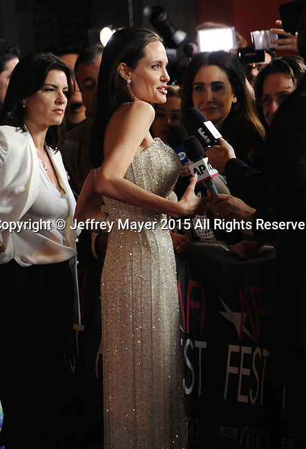 HOLLYWOOD, CA - NOVEMBER 05: Writer-director-producer-actress Angelina Jolie Pitt arrives at the AFI FEST 2015 presented by Audi Opening Night Gala Premiere of Universal Pictures' 'By The Sea' at TCL Chinese 6 Theatres on November 5, 2015 in Hollywood, California.