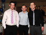 Eamonn wall, Martin Ennis and Jason Redmond pictured at the Clann Mhuire dinner dance in the Glenside hotel. Photo: Colin Bell/pressphotos.ie