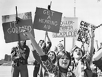 Protest by fans of Bay City Rollers (Musical group) , 1976, in Toronto, Canada.<br /> <br /> Rollers fans want Goddard's scalp. First it was angry letters denouncing Star rock critic Peter Goddard's views on the Bay City Rollers. Now they're after his scalp. angry fans Staurday paraded outside The Star building at One Yonge St. to further voice protests about his reviews.<br /> <br />  PHOTO : Griffin, Doug