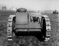 Front view of the two-man tank manufactured by the Ford Motor Co., Detroit, Mich, Ca.  1918.  Ford Motor Co.  (War Dept.)<br />Exact Date Shot Unknown<br />NARA FILE #:  165-WW-313A-4<br />WAR & CONFLICT BOOK #:  577