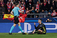 Juventus' Cristiano Ronaldo have words with the referee during UEFA Champions League match, Round of 16, 1st leg between Atletico de Madrid and Juventus at Wanda Metropolitano Stadium in Madrid, Spain. February 20, 2019. (Insidefoto/ALTERPHOTOS/A. Perez Meca)<br /> ITALY ONLY