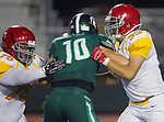 Torrance, CA 09/08/17 - \h76\, Ozmani Lafaurie (Hawthorne #55) and Javin Fish (South #10) in action during the Hawthorne vs South Torrance CIF-SS non-conference Varsity football game at South Torrance High School.