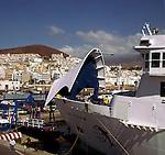 Inter island ferry Benchijigua, arriving in Los Cristianos from San Sebastion, La Gomera. Los Cristianos, Tenerife,Spain