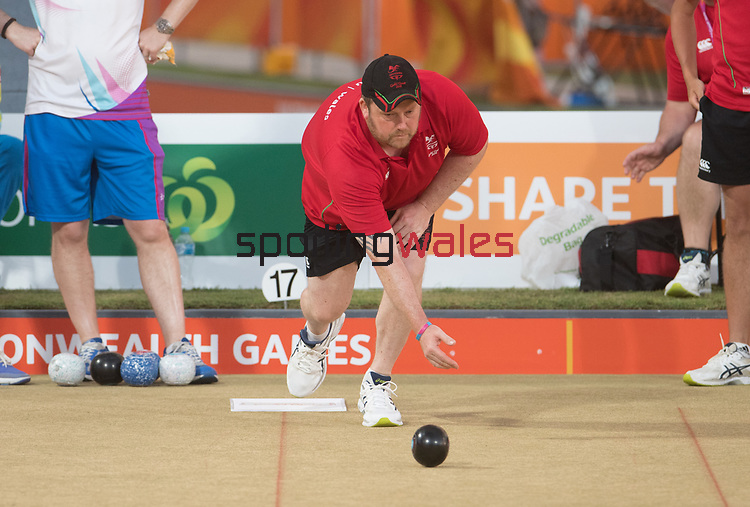 Mens Triple match - Wales v Scotland<br /> <br /> *This image must be credited to Ian Cook Sportingwales and can only be used in conjunction with this event only*<br /> <br /> 21st Commonwealth Games - Lawn Bowls  -  Day 3 - 07/04/2018 - Broadboard beach bowls club - Gold Coast City - Australia