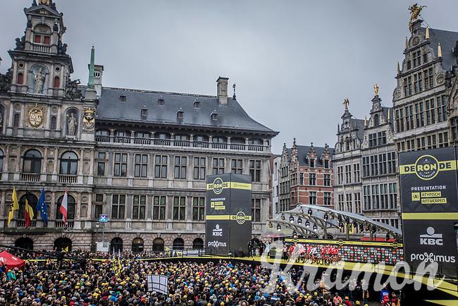 Team Trek-Segafredo team presentation on the spectacular start podium in the center square of the race start town of Antwerp<br /> <br /> 102nd Ronde van Vlaanderen 2018 (1.UWT)<br /> Antwerpen - Oudenaarde (BEL): 265km