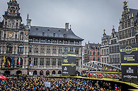 Team Trek-Segafredo team presentation on the spectacular start podium in the center square of the race start town of Antwerp<br /> <br /> 102nd Ronde van Vlaanderen 2018 (1.UWT)<br /> Antwerpen - Oudenaarde (BEL): 265km