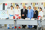 (L to R) <br /> Hiroto Shinohara, <br /> Ryutaro Araga, <br /> Antonio Espinos, <br /> Toshihisa Nagura, <br /> Takashi Sasagawa, <br /> Kiyou Shimizu, <br /> AUGUST 7, 2015 : <br /> World Karate Federation (WKF) <br /> holds a media conference following its interview <br /> with the Tokyo 2020 Organising Committee in Tokyo Japan. <br /> (Photo by YUTAKA/AFLO SPORT)