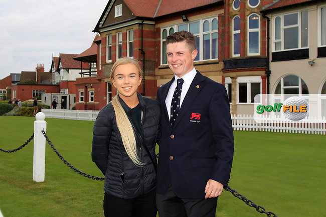 Conor Purcell (GB&I) and friend during the Official Opening of the Walker Cup, Royal Liverpool Golf CLub, Hoylake, Cheshire, England. 06/09/2019.<br /> Picture Thos Caffrey / Golffile.ie<br /> <br /> All photo usage must carry mandatory copyright credit (© Golffile   Thos Caffrey)
