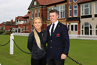 Conor Purcell (GB&I) and friend during the Official Opening of the Walker Cup, Royal Liverpool Golf CLub, Hoylake, Cheshire, England. 06/09/2019.<br /> Picture Thos Caffrey / Golffile.ie<br /> <br /> All photo usage must carry mandatory copyright credit (© Golffile | Thos Caffrey)