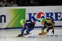 SCHAATSEN: DORDRECHT: Sportboulevard, Korean Air ISU World Cup Finale, 11-02-2012, Yoon-Gy Kwak KOR (51), Yuzo Takamido JPN (47), ©foto: Martin de Jong